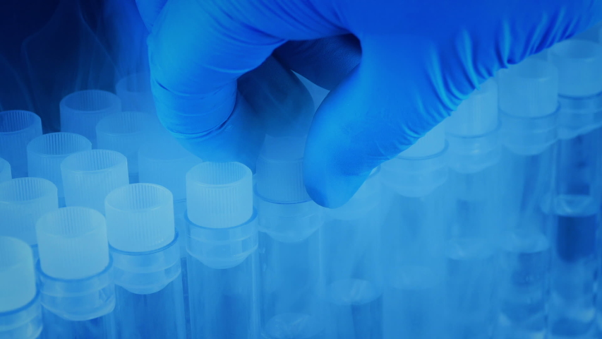 COVID-19 Concept - Test Tube Picked Up From Cold Storage  Royalty-Free Stock Footage #1058036842