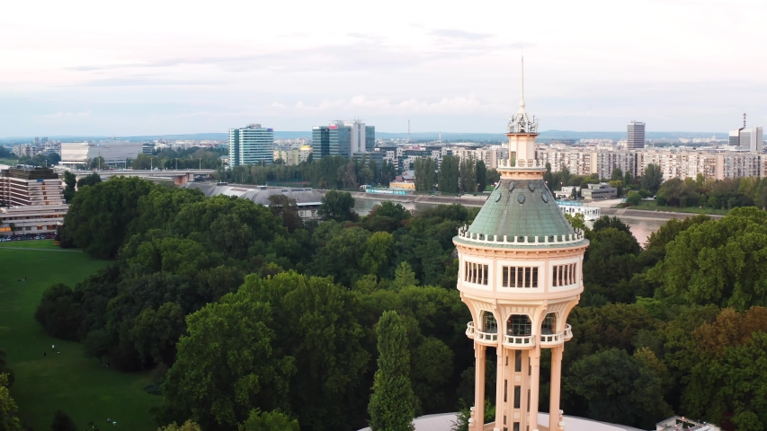 Margaret Island Water Tower, aerial 4K view in Budapest, Hungary.  | Shutterstock HD Video #1058039548