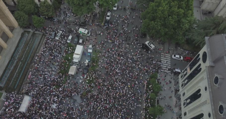 Aerial shot on Protesting people manifestation