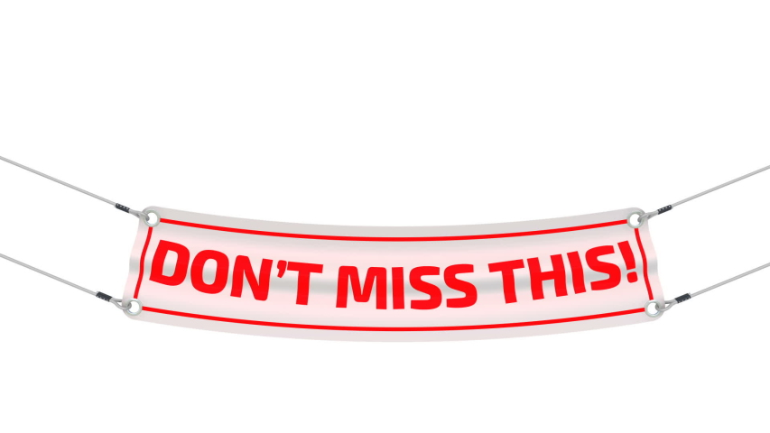 Don't miss this! Advertising banner. White advertising banner with red text DON'T MISS THIS! Footage video | Shutterstock HD Video #1058056813