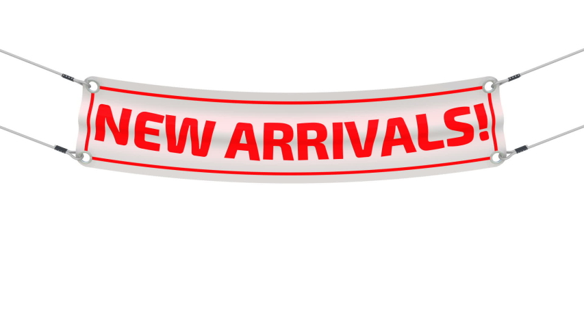 New arrivals! The advertising banner. White advertising banner with red text NEW ARRIVALS! Footage video | Shutterstock HD Video #1058059663