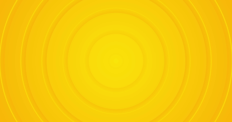 4k light sunny yellow gradient seamless looped animated background. 3d circle rings minimal animation for presentation, event, party text backdrop. Halloween sale. Endless pure transition. Blank frame