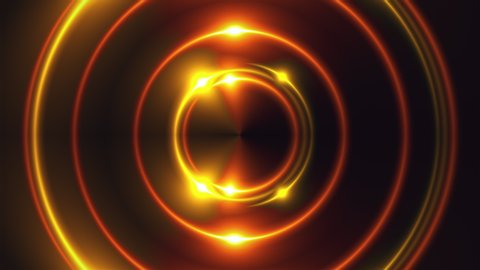 3d render of gold fractal lights with shining effects. Computer generated abstract background of flickering rings.