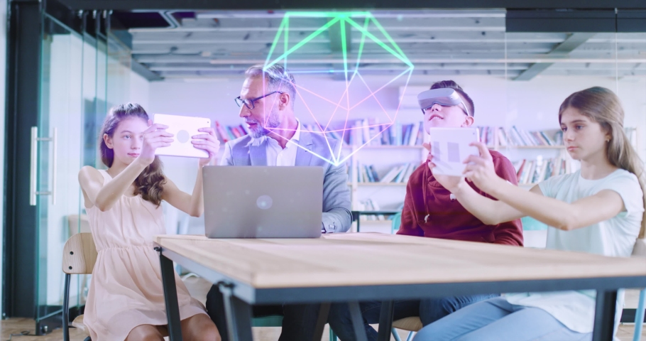 Virtual Future Classroom Education Students Using Technology VR Headset eLearning Online Teaching Online Learning Modern Digital Classroom Concept Slow Motion 8k Royalty-Free Stock Footage #1058096821