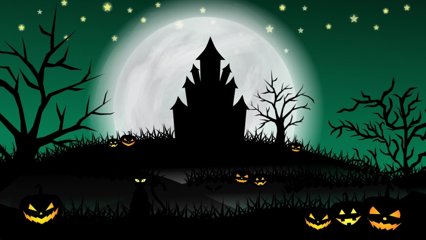 Halloween animation with the concept of green night, moon, shining stars, flying witch, bats, ghosts, animated trees, grasses, haunted castle, and scary pumpkins. Halloween animation | Shutterstock HD Video #1058103718