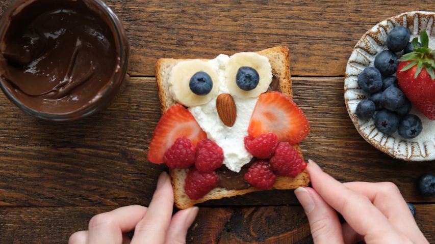 Time lapse preparing kids food, food art of funny cute owl toast with chocolate nut spread, soft white cheese and berries. School lunch box or bento box concept Royalty-Free Stock Footage #1058120239