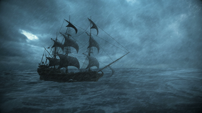 Ship sailing in the ocean in a storm with rain and lightning, 3d animation | Shutterstock HD Video #1058124268