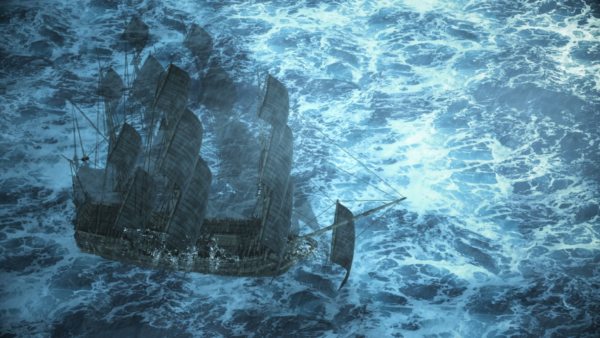 ship sailing in the ocean in a storm with rain and lightning, 3d animation Royalty-Free Stock Footage #1058124274