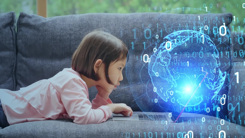 Asian little girl using laptop PC. Education technology. EdTech. Royalty-Free Stock Footage #1058135614