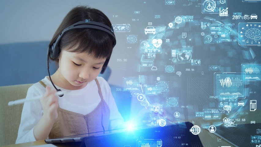 Asian little girl taking online class. Education technology. EdTech. Royalty-Free Stock Footage #1058135743