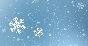 Falling snowflakes on blue background, winter snow. Seamless 4K loop video animation.
