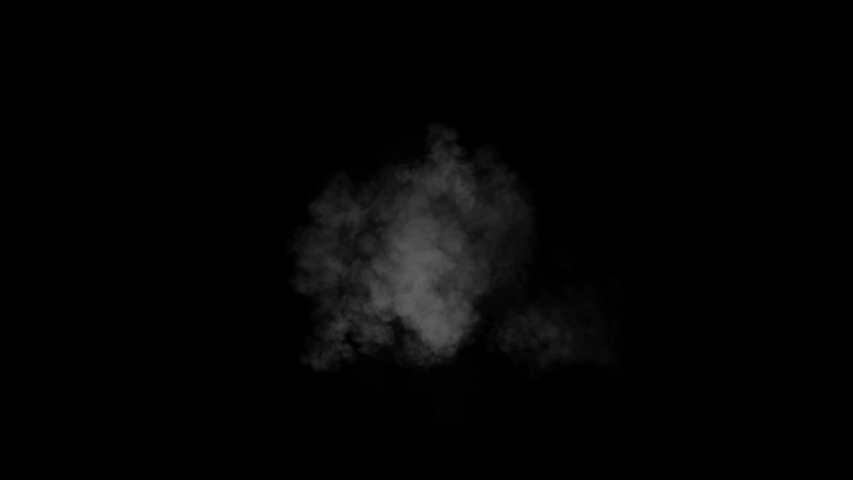 A puff of gun smoke rises from the center on a black background from the Ricochet collection - Muzzle Flash Video Element.