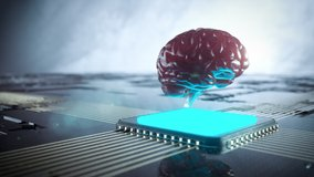 Futuristic human brain on computer chip. Artificial intelligence and neuro interface concept. Medicine and science theme video. Seamless loop 3d animation