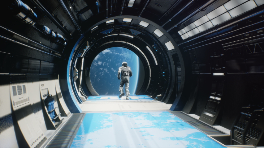 The astronaut has fun or escapes and jumps out of the spaceship's airlock into outer space. The animation is for fantastic, the futuristic or space travel backgrounds. | Shutterstock HD Video #1058150299