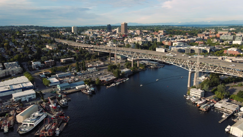 Amazing Urban Aerial Video of Scenic Washington State with Cars and Boats Traveling