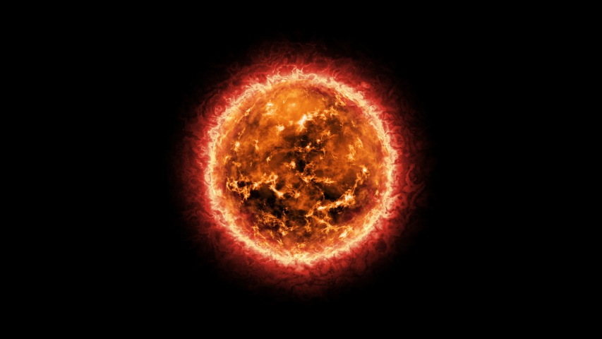Abstract Sun Solar Atmosphere on black background. Burning fire gas energy solar plasma and flare planet element looped background. 4K 3D rendering Ideal for visual effects and motion graphics. Royalty-Free Stock Footage #1058167789