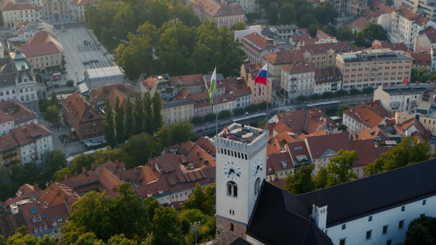 Panoramic drone view of Ljubljana's castle tower Royalty-Free Stock Footage #1058170720