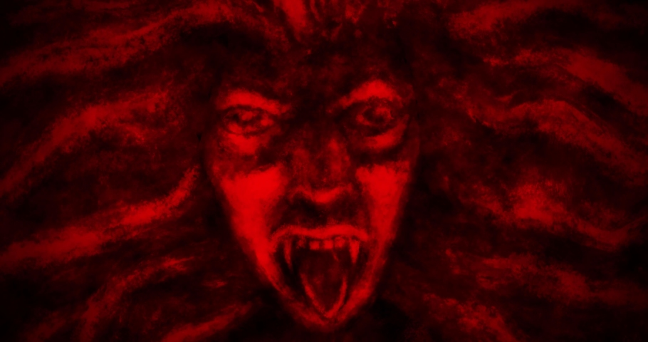 Animation of scary face a vampire woman with flowing hair in front and in profile. Black and red fantasy horror movie. Motion graphics for music clips and VJ loops. | Shutterstock HD Video #1058177515