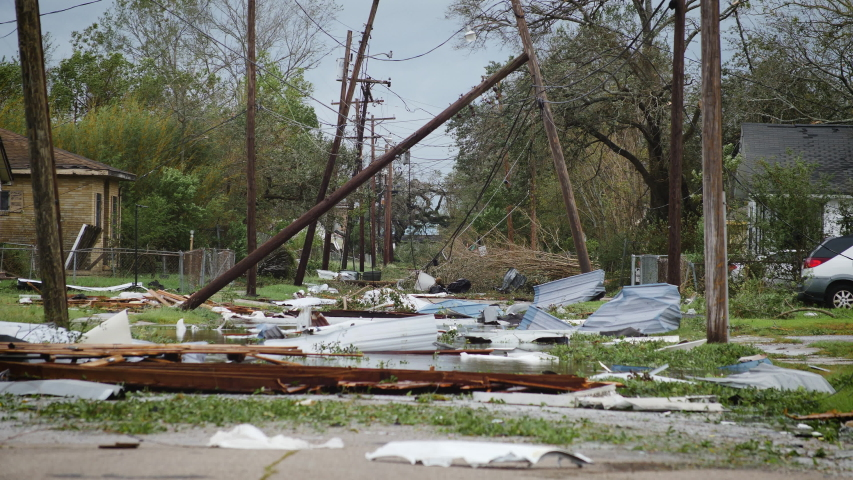 Hurricane Laura - Category 4 Storm Damage in Lake Charles, Louisiana Royalty-Free Stock Footage #1058183395