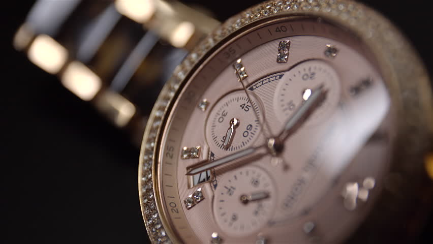 Extreme Close Up of Beautiful Woman's Watch. Second Hand Dial CU. 4K UHD. #10581905