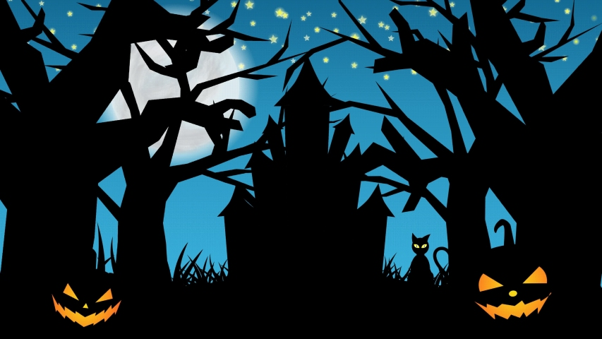 Scary night of halloween background animation with the concept of blue sky, haunted castle, animated trees, cat, scary pumpkins | Shutterstock HD Video #1058195494