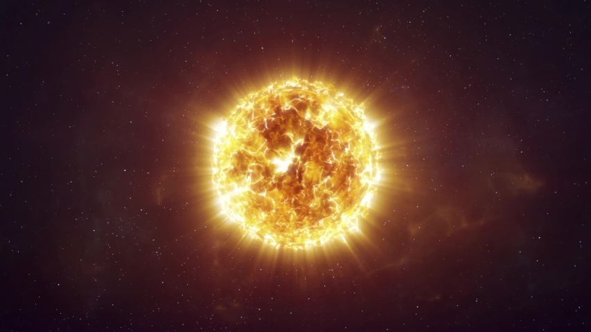 Approaching a Bright Orange Star in the Depths of Space   Shutterstock HD Video #1058196835