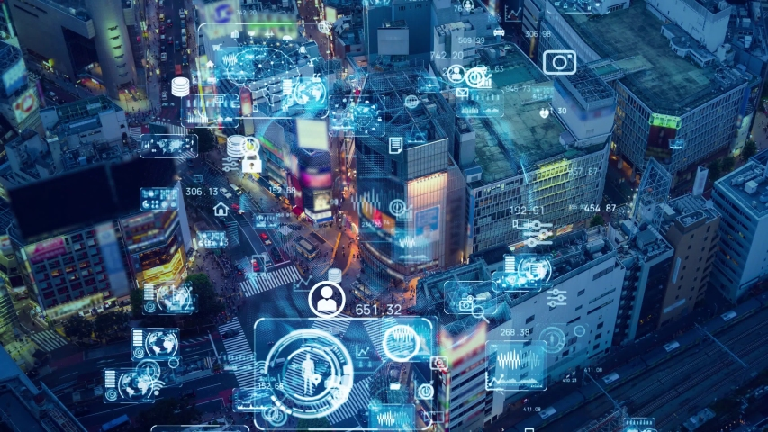 Smart city and communication network concept. Retail as a Service. Royalty-Free Stock Footage #1058198518