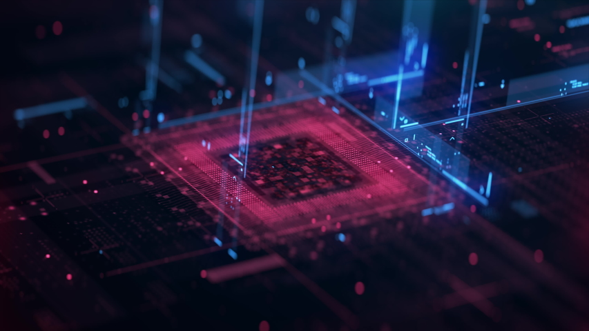 Technology Background CPU Circuit. 3D Visualization AI Processor Power. Colorful Blue and Red Digitalization Process. Data Transmission in Futuristic Industry Four Virtual Hi tech Animation Closeup 4 Royalty-Free Stock Footage #1058200216