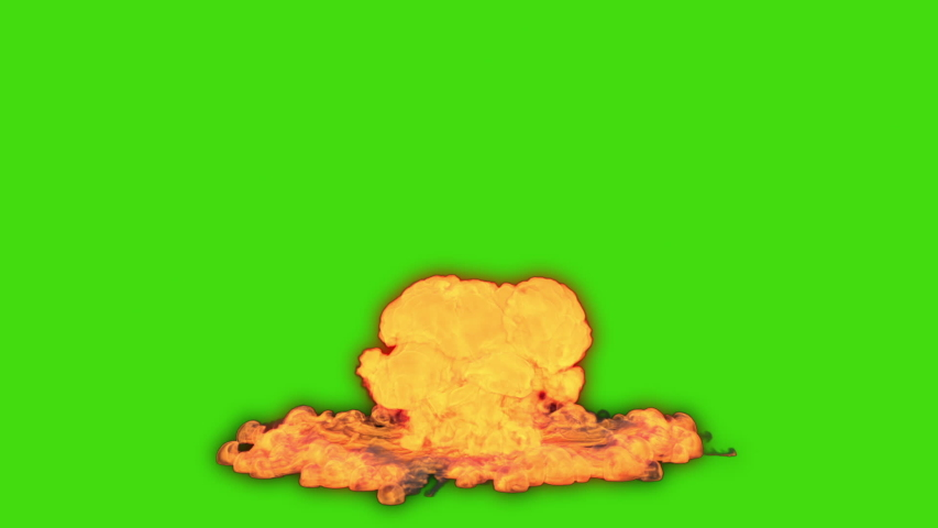 Nuclear Explosion On Green Back Ground. Green Screen Nuclear Explosion. Hydrogen Bomb Blast Green Screen Fottage.