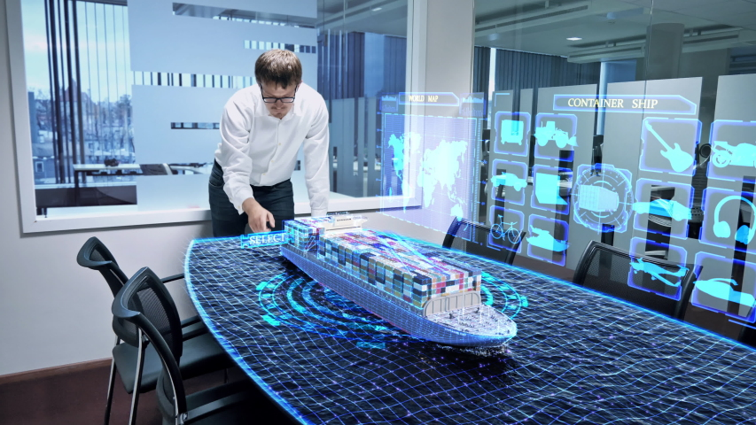 Professional engineer in the office is working on a virtual 3D project of a container ship. 3D rendering of a container ship. Royalty-Free Stock Footage #1058214397