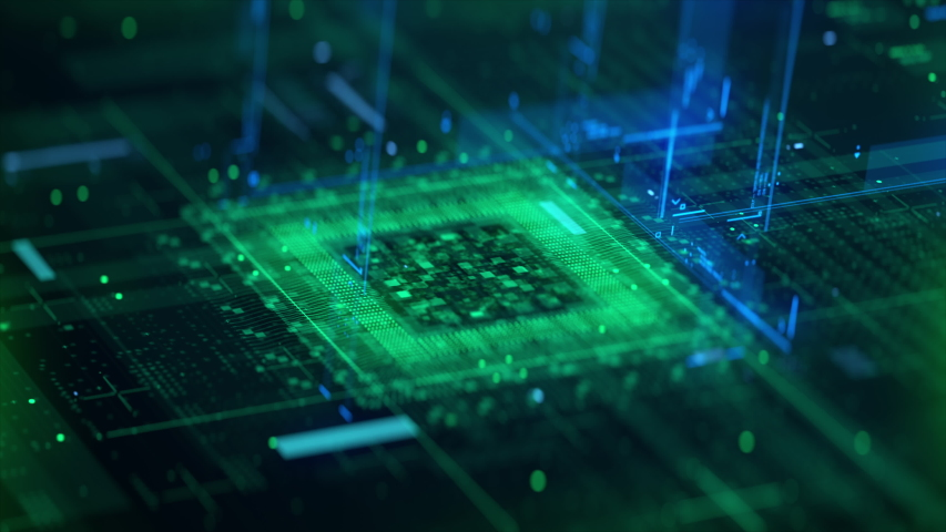 Technology Background CPU Circuit. 3D Visualization AI Processor Power. Colorful Green and Blue Digitalization Process. Data Transmission in Futuristic Industry Four Virtual Computer Animation Closeup