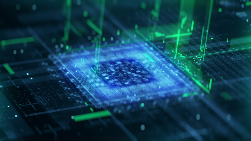 Technology Background CPU Circuit. 3D Visualization AI Processor Power. Colorful Blue and Green Digitalization Process. Data Transmission in Futuristic Board Chip Virtual Computer Animation Closeup 4K | Shutterstock HD Video #1058217664