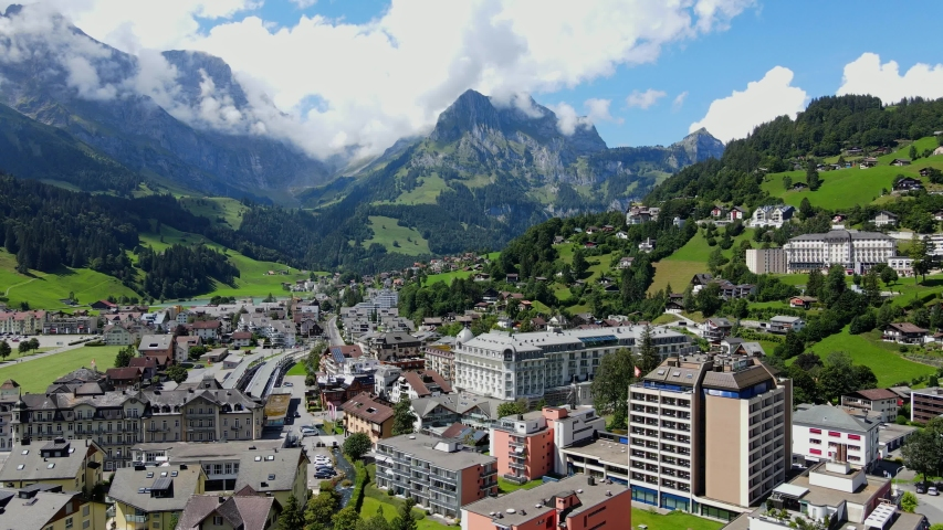 City of Engelberg in Switzerland - The Swiss Alps - aerial view - travel photography