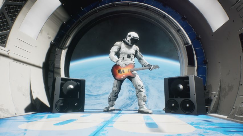 Astronaut on a spaceship playing guitar space rock n roll. Looping animation is designed for fantastic, futuristic or space travel. | Shutterstock HD Video #1058229208