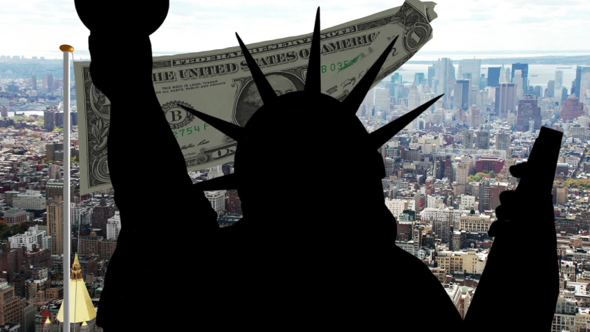 Statue of liberty against dollar background