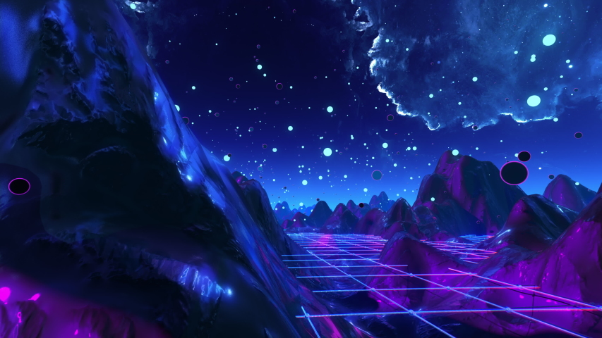 Futuristic flight through a trippy landscape seamless loop. High quality 3D animation with mountains, grid,balls live show, VJ background. 60 fps psychedelic flythrough in 4k | Shutterstock HD Video #1058234647