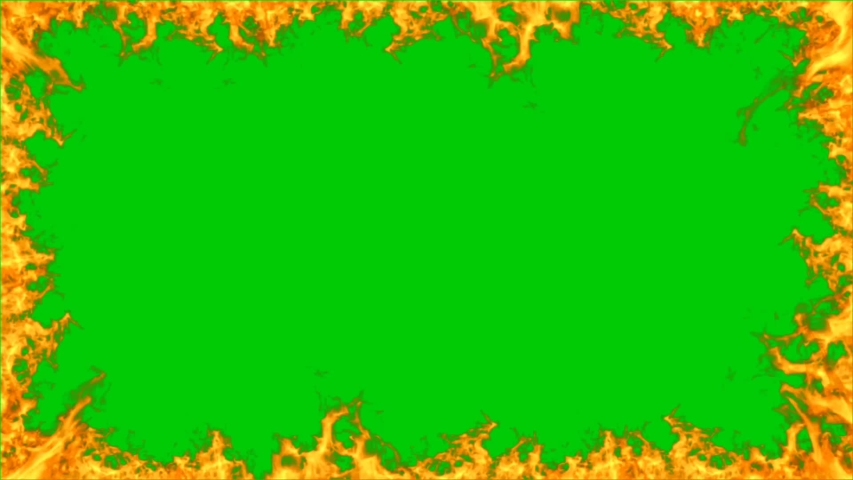 Beautiful frame fire on green background. Abstract solar fire circle. Gradually appearing burning ring of fire. On green screen