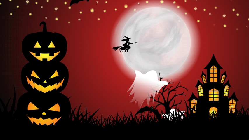 Halloween background animation with a stacked scary pumpkins on red night. Scary night of halloween with flying bats, ghosts, moon, shining stars, animated tree, grasses, and haunted castle | Shutterstock HD Video #1058246494