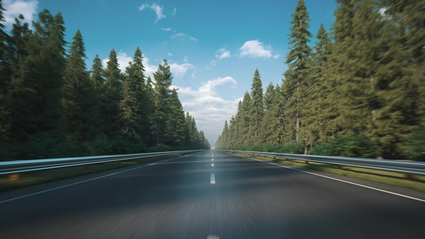 Driving along the road along the forest. POV shot from a camera driving through beautiful empty road. Looped video.  Royalty-Free Stock Footage #1058247445