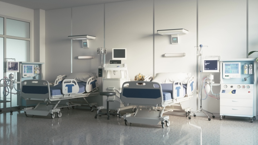 Two empty medical beds in the hospital ward. Modern medical ward with equipment