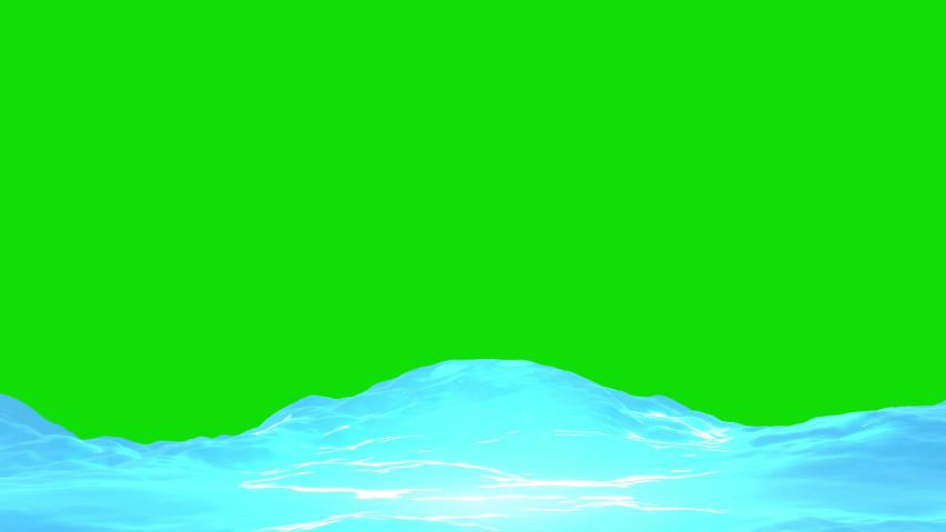 Looped cartoon ocean waves on green screen background animation.