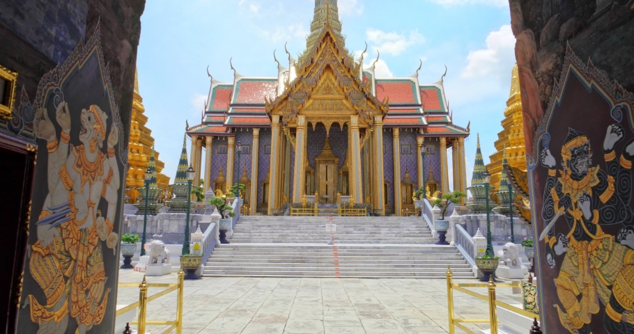 Wat Phra Kaew or Emerald Buddha Temple a tourist famous landmark which relate to religion in Bangkok Thailand. Amazing Thailand travel concept.