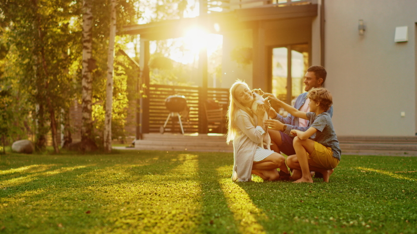 Smiling Father, Mother and Son Pet and Play with Smooth Jack Russell Retriever Dog. Sun Shines on Idyllic Happy Family with Loyal Pedigree Dog have Fun at the Idyllic Suburban House Backyard Royalty-Free Stock Footage #1058261881