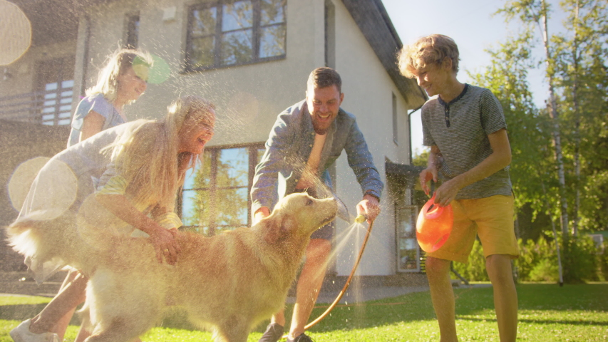 Father, Daughter, Son Play With Loyal Golden Retriever, Dog Tries to Catch Water from Garden Water Hose. Family Spending Fun Outdoors Time Together in Backyard. Golden Hour Sunset. Slow Motion Shot   Shutterstock HD Video #1058262010