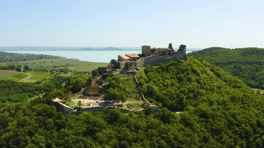 Castle of Szigliget aerial view in summer. Hungarian, European landscape. | Shutterstock HD Video #1058266357