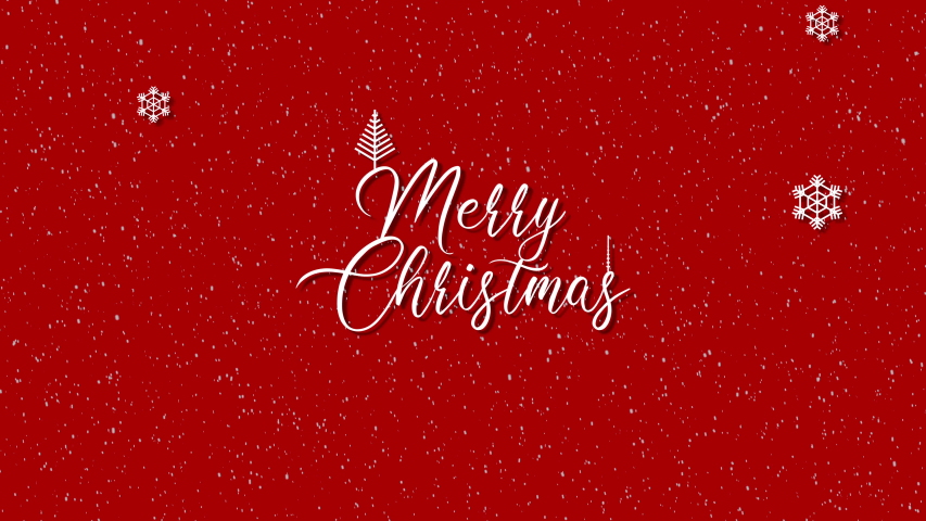 Cute animation of Merry Christmas lettering with christmas tree and snowflakes falling | Shutterstock HD Video #1058268172