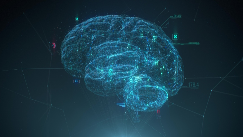 Futuristic human brain interface concept. Brain scan technology. Neurosurgery diagnostic | Shutterstock HD Video #1058269939