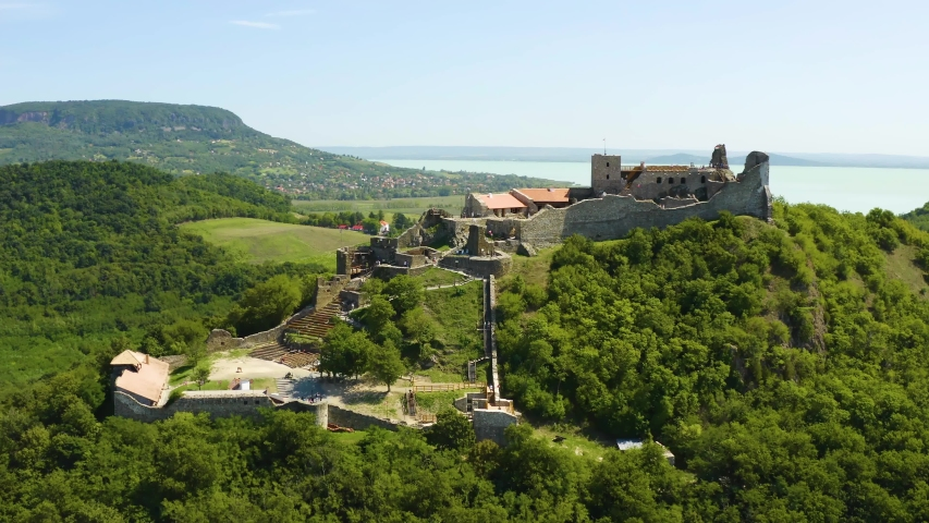 Castle of Szigliget aerial view in summer. Hungarian, European landscape. | Shutterstock HD Video #1058271520