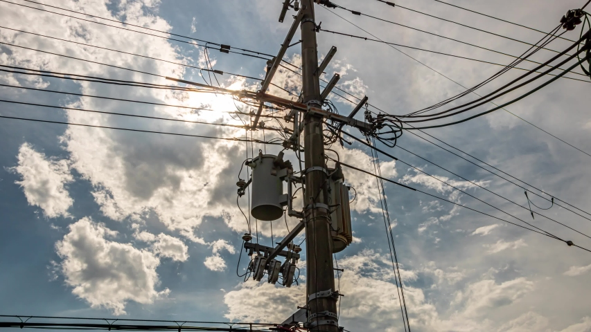 Clouds and Powerline Time Lapse in afternoon