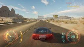 Fake 3D video game. Cyber race gameplay running across the desert